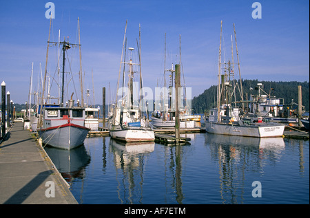 A view of fishing boats in the Florence Harbor on the Oregon coast - Stock Photo