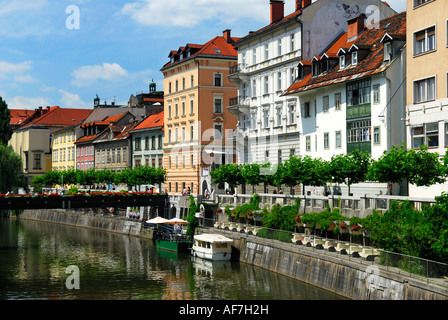 Colourful buildings in the Old Town Ljubljana Slovenia - Stock Photo