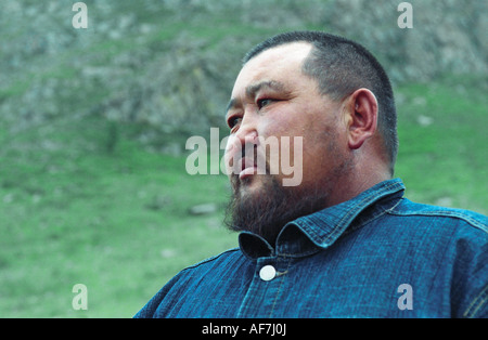 Portrait of an Altaian man. El-Oiyn - national festival of Altaic people. The Altai Republic. Siberia. Russia - Stock Photo