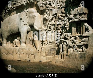 geography / travel, India, Tamilnadu, Mahabalipuram (Mamallapuram), Temple of Shiva, relief, walk, detail, Pallava - Stock Photo