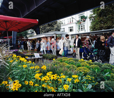 geography / travel, Germany, Hamburg, green market at Isestrasse, Additional-Rights-Clearance-Info-Not-Available - Stock Photo