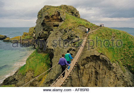 Carrick-a-Rede rope bridge, Co. Antrim, Northern Ireland - Stock Photo