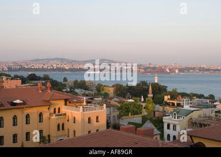Rooftops & Bosporus, Istanbul, Turkey - Stock Photo