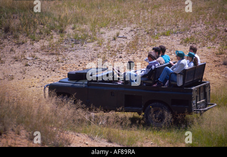 Travelling by jeep in game reserve South Africa - Stock Photo