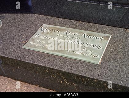 Grave of Chester Arthur, 21st US President - Stock Photo