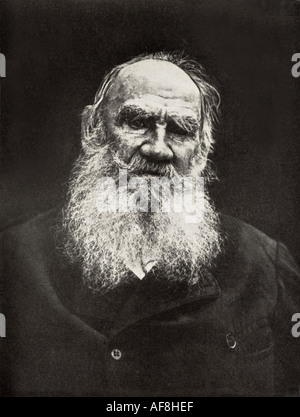 LEO TOLSTOY Russian novelist writer and philisopher 1828 1910 whose most famous work is War and Peace - Stock Photo