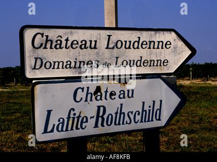 France wine Bordeaux Medoc Lafite Rothschild  sign board billboard message communication advertising advertisement - Stock Photo