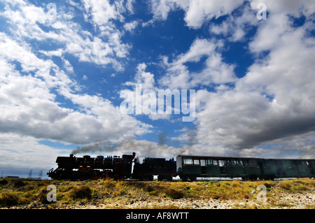 Romney Hythe and Dymchurch miniature 15 inch gauge steam railway races over Romney Marsh, Kent. - Stock Photo
