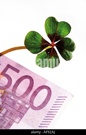 Four-leafed clover on 500 Euro banknote, close-up - Stock Photo