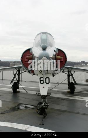 Dassault Etendard IV M on display on the flight deck at the Intrepid Sea Air Space Museum new york city new york - Stock Photo