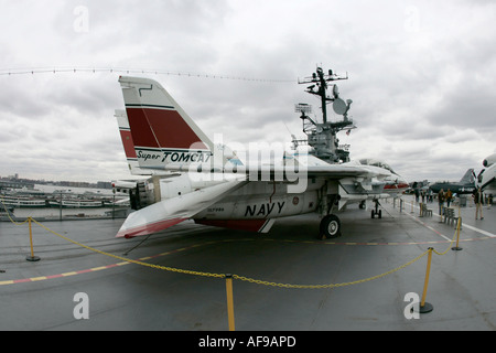 fisheye shot of Grumman F 14 on the flight deck of the USS Intrepid at the Intrepid Sea Air Space Museum - Stock Photo