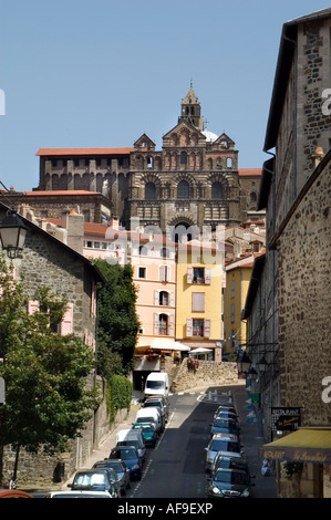 Le Puy en Velay  Volcanic Cones Massif Central Auvergne Cathedral of Notre Dame France French - Stock Photo