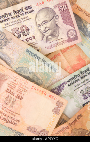 Indian rupee notes spread in a pattern - Stock Photo