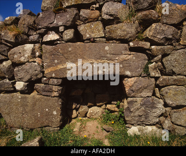 Hearth of old abandoned house at Balnambodach on the island of Barra Outer Hebrides western Scotland - Stock Photo