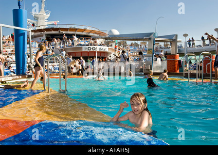 The massive seawater pool area on a cruise liner - Stock Photo