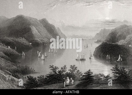 View from West Point Hudson River USA in the 19th century - Stock Photo