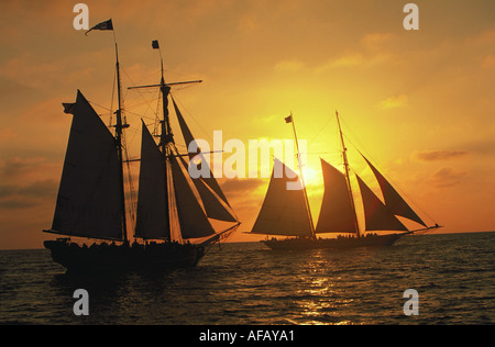 Two Tall Ships sailing off Dana Point in California are silhouetted against an orange setting sun - Stock Photo