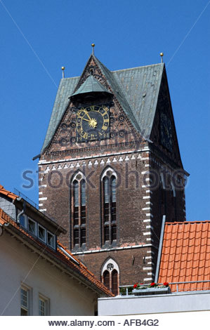 Wismar Germany The tower of the remains of St.Marienkirche. - Stock Photo