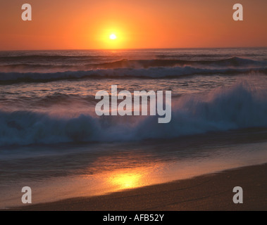 Sunset over Pacific Ocean, Point Reyes National Seashore California USA - Stock Photo