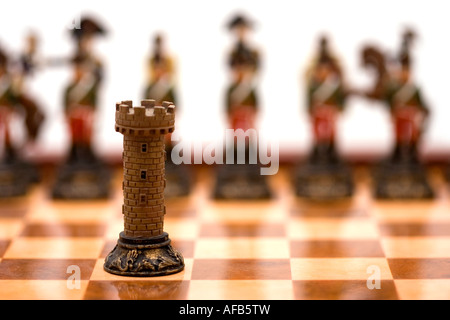 rook on chessboard chess - Stock Photo