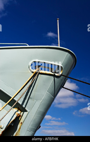 Shipping / Ship. Close up view of a Ships bow with mooring ropes attached.