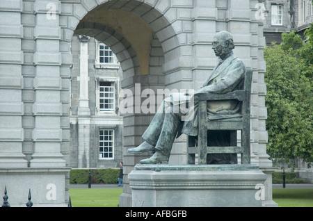 William Edward Hartpole Lecky statue by Goscombe John at Trinity College Dublin Ireland - Stock Photo