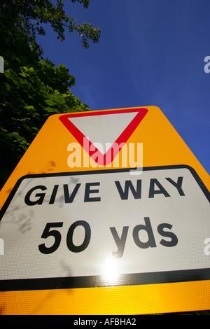 Give way 50 yards - Stock Photo
