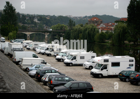 England Mobile Homes Rv And Caravans Parked Up On The Banks Of A River Dordogne Perigord