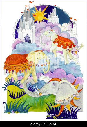 An original illustration showing elephants and castles in a dreamlike setting - Stock Photo