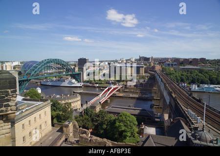 View over [River Tyne] bridges Newcastle upon Tyne - Stock Photo