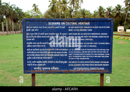 Sign about cultural heritage by the Archaeological Survey of India - Stock Photo