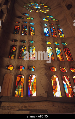 A stained glass window inside Antoni Gaudí's Sagrada Familia cathedral in Barcelona - Stock Photo