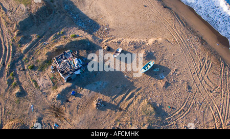 Hut and two boats on the beach aerial Black Sea coast of Istanbul Turkey - Stock Photo