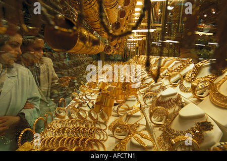 Gold in the window of a jewellers shop, Gold Trade, Grand Bazaar, Istanbul, Turkey - Stock Photo