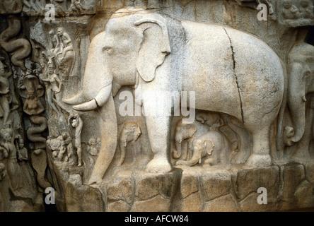 geography / travel, India, Mahabalipuram (Mamallapuram), Tamil Nadu, temple of Shiva, relief 'the origin of river - Stock Photo