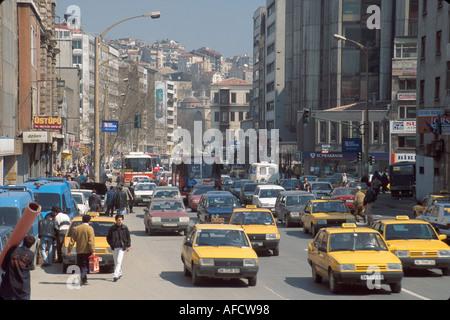 Turkey Istanbul Karakoy Quarter Galipdede Cadessi taxis traffic - Stock Photo