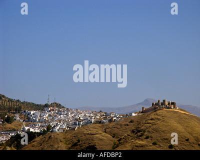 View at the white village Alora Malaga Costa del Sol Andalucia Spain - Stock Photo