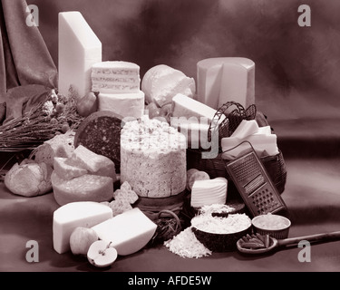 English Cheeses in group sepia photograph on warm toned mottled background. Horizontal  Format, studio tabletop. - Stock Photo