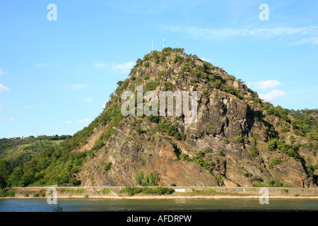 the Loreley Rock beside the River Rhine in Germany - Stock Photo