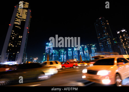 new construction of skyscrapers in the Dubai business bay, Dubai, United Arab Emirates - Stock Photo