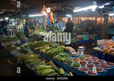 Night Market Vegetable Stands, Pasar Malam Night Market, Bandar Seri Begawan, Brunei Darussalam, Asia - Stock Photo