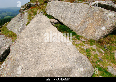 The two Commandment Stones at Buckland Beacon on Dartmoor carved with Christian text - Stock Photo