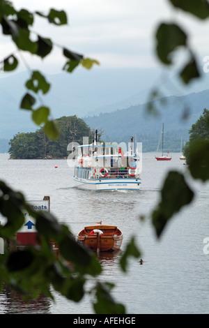 Steamer boat on Lake Windermere Cumbria northern England UK - Stock Photo