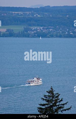 Cruising boat crossing Lake Constance (Bodensee), Meersbug Baden-Wuerttemberg Germany July 2004 - Stock Photo