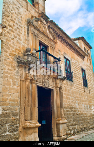 Window of Marques de Salvatierra Palace in Ronda Andalusia Spain - Stock Photo