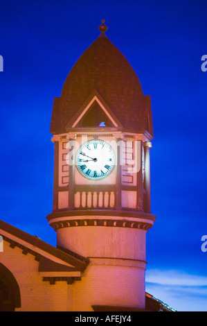 Victorian clock tower Fort Plain New York - Stock Photo