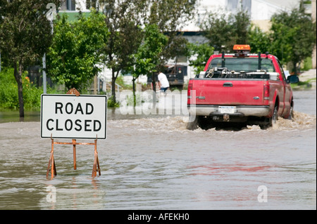 Flooding of Mohawk River Fort Plain New York June 2006 - Stock Photo