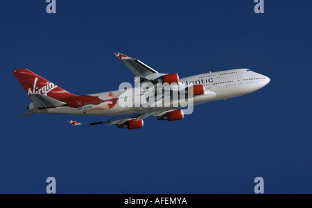 Lady Penelope takes to the skies - a Virgin Atlantic owned Boeing 747 Jumbo jet - Stock Photo