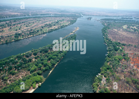 Zambezi River above Victoria Falls - Stock Photo