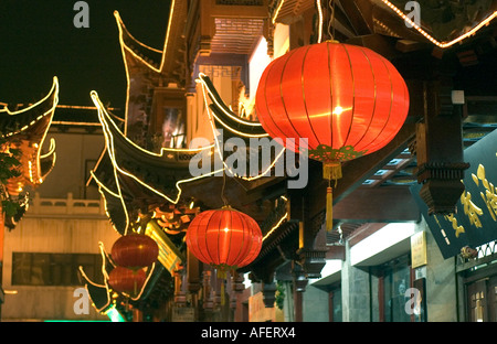 Chinese red lantern glowing in the night, photo taken near Yuyuan garden, in Shanghai, China - Stock Photo